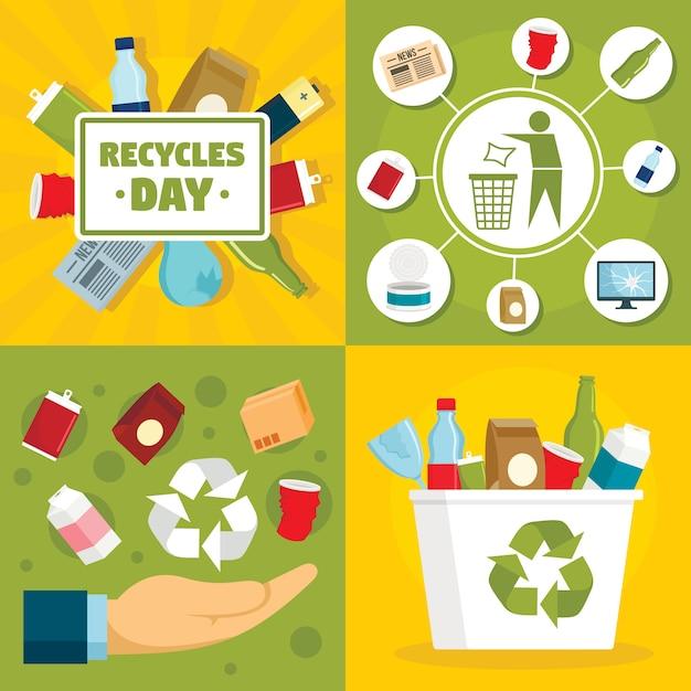 リサイクル日の背景 Premiumベクター
