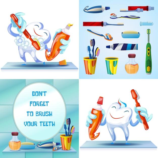 Чистка зубной щетки Premium векторы