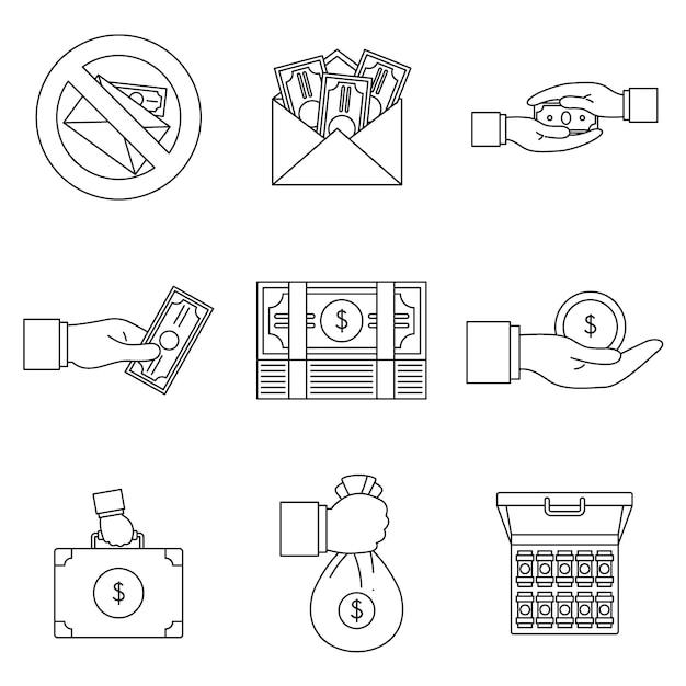 Набор иконок коррупционных практик взяточничества Premium векторы