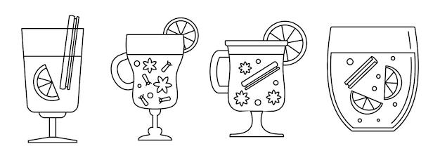蜂蜜ホットワインのアイコンを設定 Premiumベクター