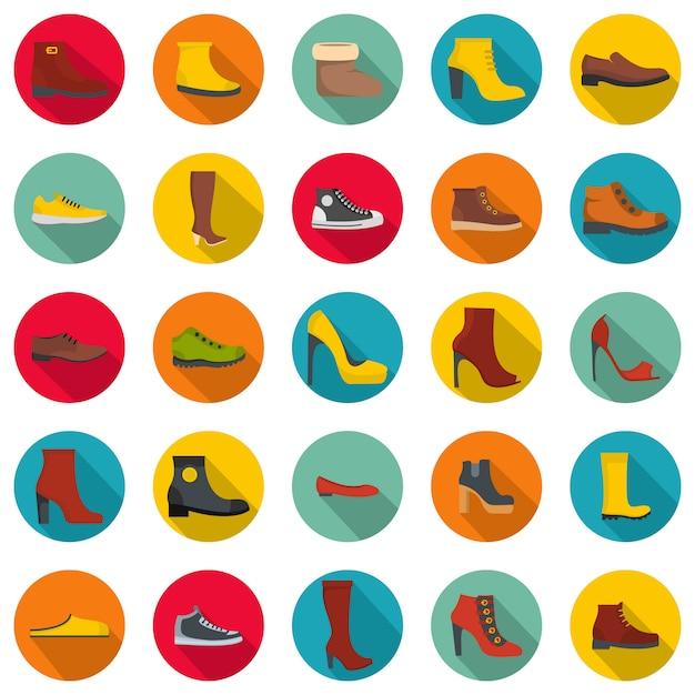 Набор иконок обувь обувь, плоский стиль Premium векторы
