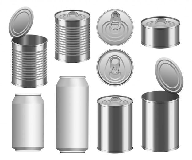 Набор макетов для консервной банки Premium векторы