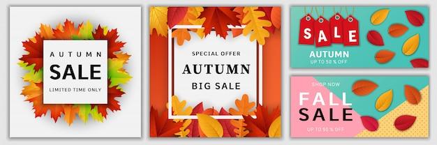 秋の販売秋バナーセット Premiumベクター