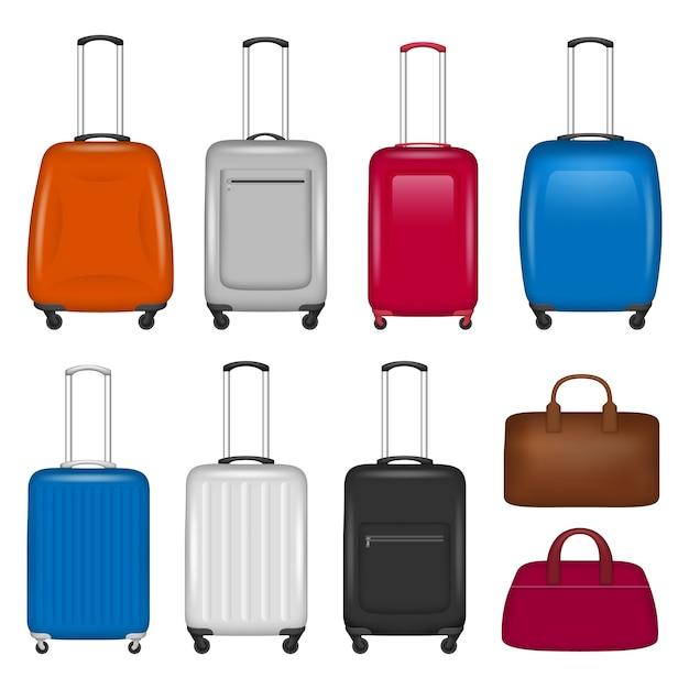 旅行スーツケースのアイコンを設定 Premiumベクター