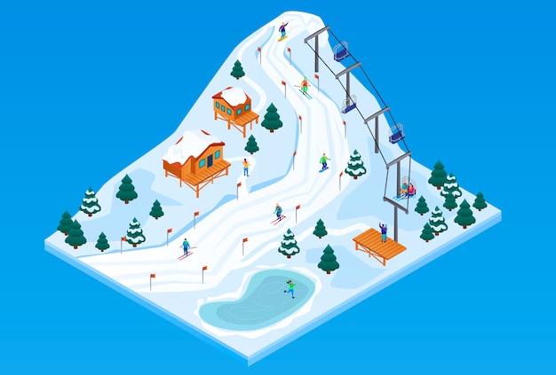 スキーリゾートのベクトルの概念の等角投影図 Premiumベクター