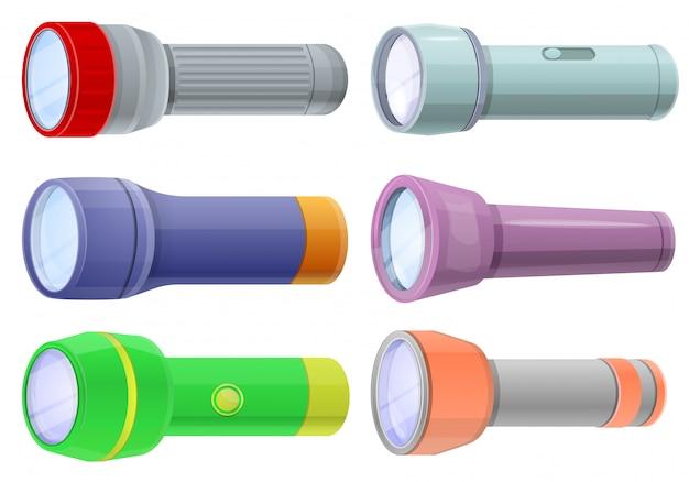 懐中電灯セット、漫画のスタイル Premiumベクター