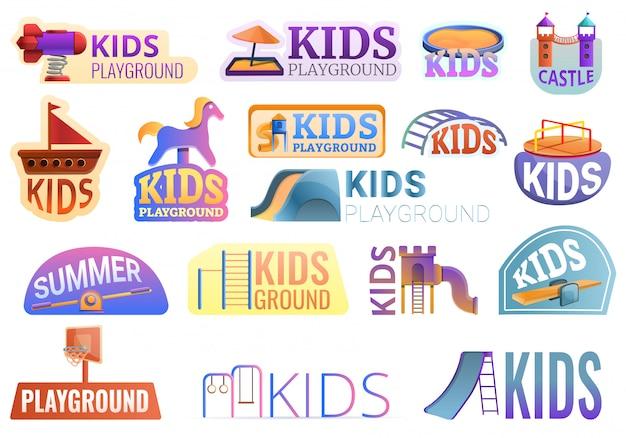 ロゴセット、漫画スタイルの外の子供の遊び場 Premiumベクター