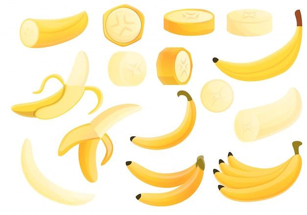 バナナセット、漫画のスタイル Premiumベクター