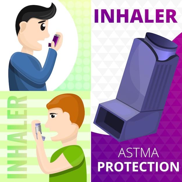 Астма ингалятор баннер, мультяшном стиле Premium векторы