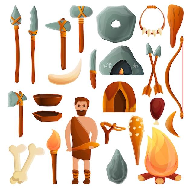石器時代のセット、漫画のスタイル Premiumベクター