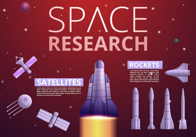 宇宙研究技術のインフォグラフィック。宇宙研究技術ベクトルインフォグラフィックの漫画 Premiumベクター