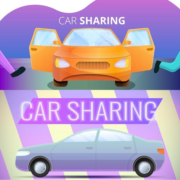 Иллюстрация совместного использования автомобилей на мультяшном стиле Premium векторы
