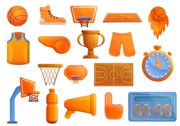 バスケットボール用品セット、漫画のスタイル Premiumベクター