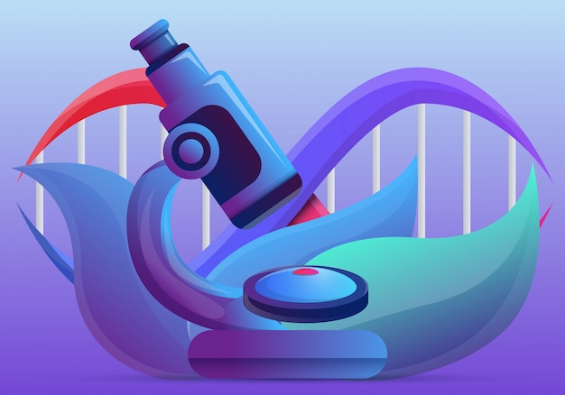 遺伝子工学の概念図漫画のスタイル Premiumベクター