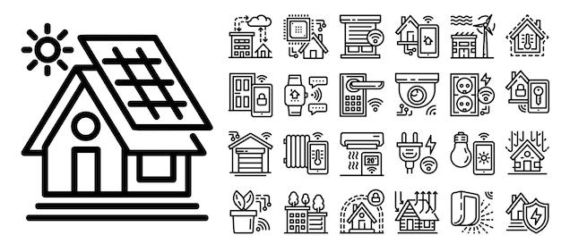 Интеллектуальное здание набор иконок, стиль контура Premium векторы