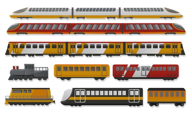 地下鉄の電車のアイコンセット、漫画のスタイル Premiumベクター