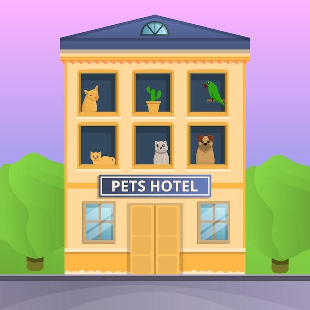 ペットホテルコンセプトバナー、漫画のスタイル Premiumベクター