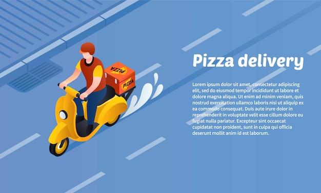 ピザ配達コンセプトバナー、アイソメ図スタイル Premiumベクター