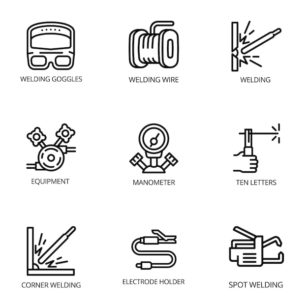 Набор иконок сварщика, стиль контура Premium векторы