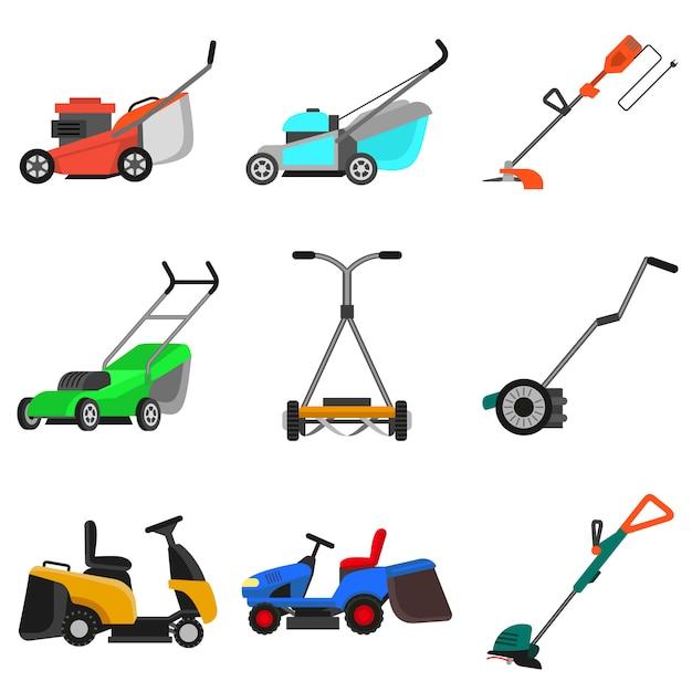 芝刈り機セット、フラットスタイル Premiumベクター