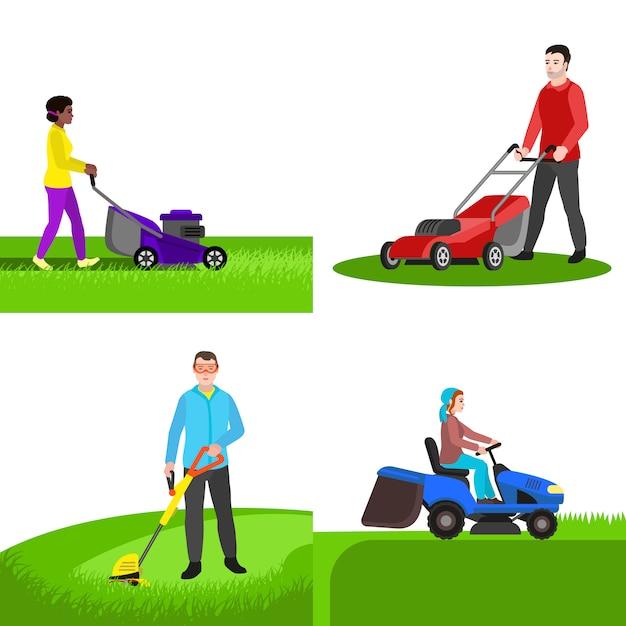 庭の芝刈り機のキャラクターセット、フラットスタイル Premiumベクター