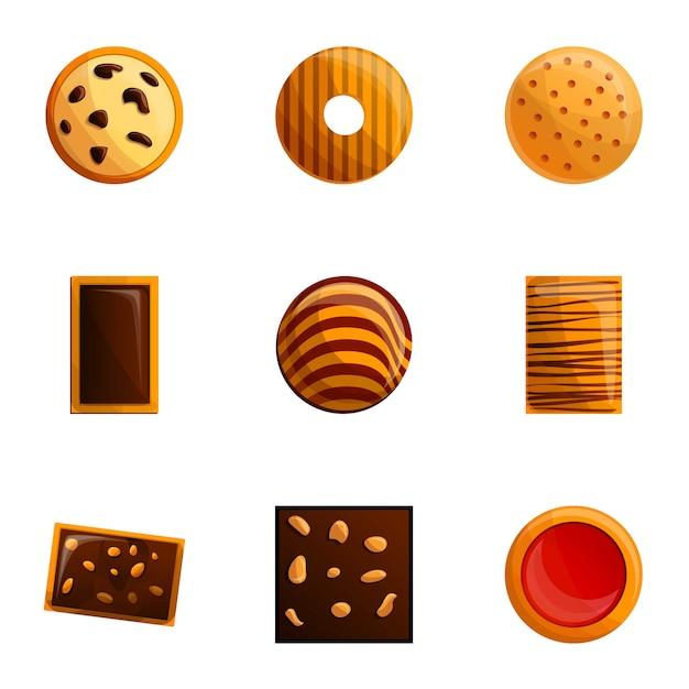 Набор печенья в мультяшном стиле Premium векторы
