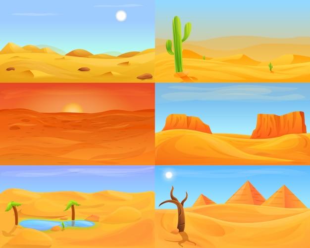 砂漠のイラストセット、漫画のスタイル Premiumベクター