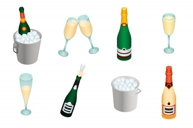 シャンパンセット、アイソメ図スタイル Premiumベクター