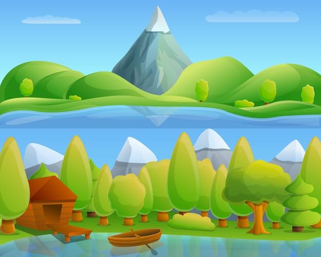 山の湖のコンセプト、漫画のスタイル Premiumベクター