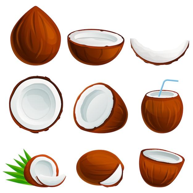 Набор иконок кокос, мультяшном стиле Premium векторы