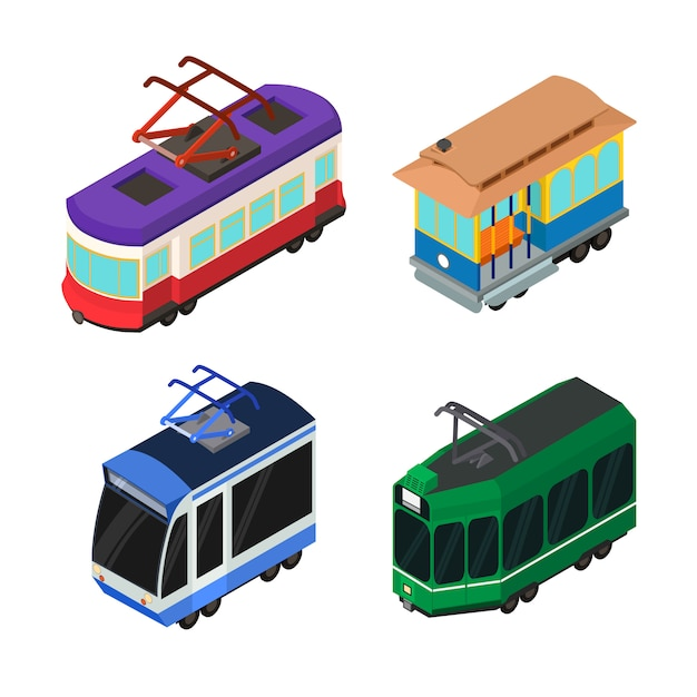 Набор иконок трамвайный вагон Premium векторы
