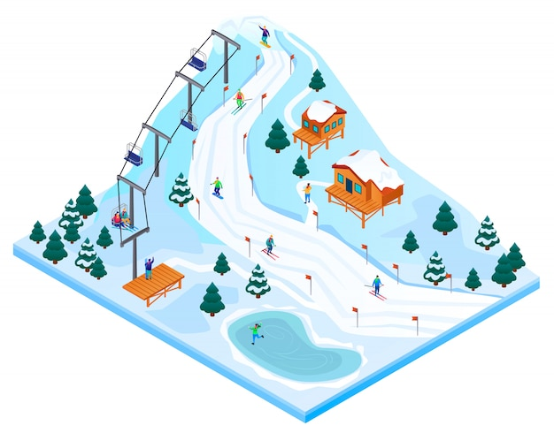 スキーリゾートのコンセプト、アイソメ図スタイル Premiumベクター