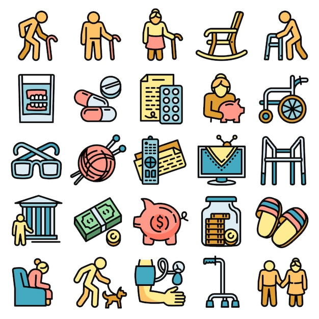 Набор иконок пенсии, стиль контура Premium векторы