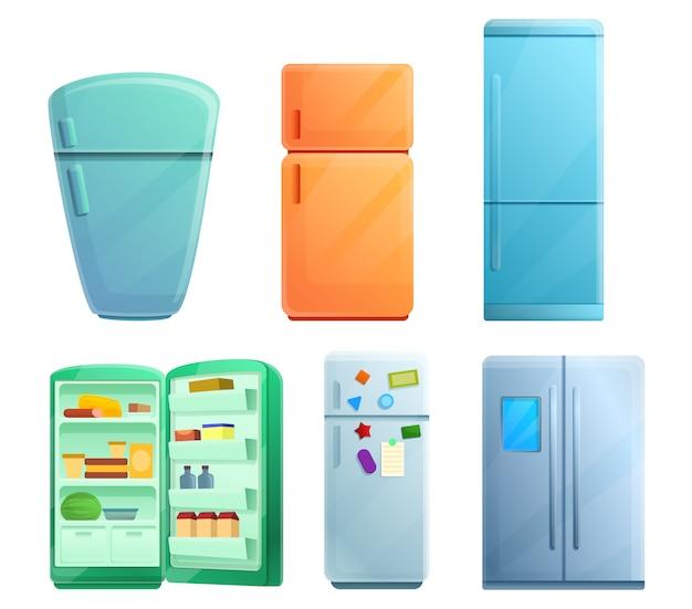 冷蔵庫クリップアートセット、漫画のスタイル Premiumベクター
