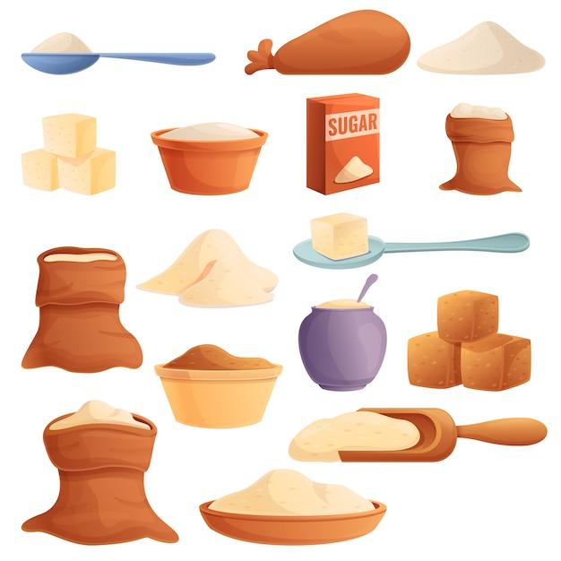 Набор иконок сахара, мультяшном стиле Premium векторы
