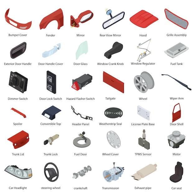Набор элементов автозапчастей, изометрический стиль Premium векторы