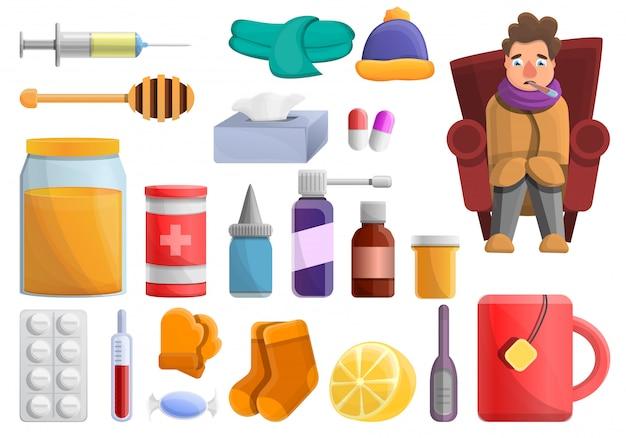 Набор элементов гриппа, мультяшном стиле Premium векторы