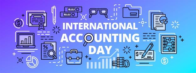 国際会計日バナー、アウトラインスタイル Premiumベクター