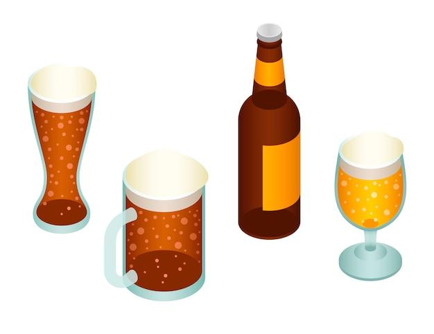 ビールのアイコンを設定します。ビールの等尺性セット Premiumベクター
