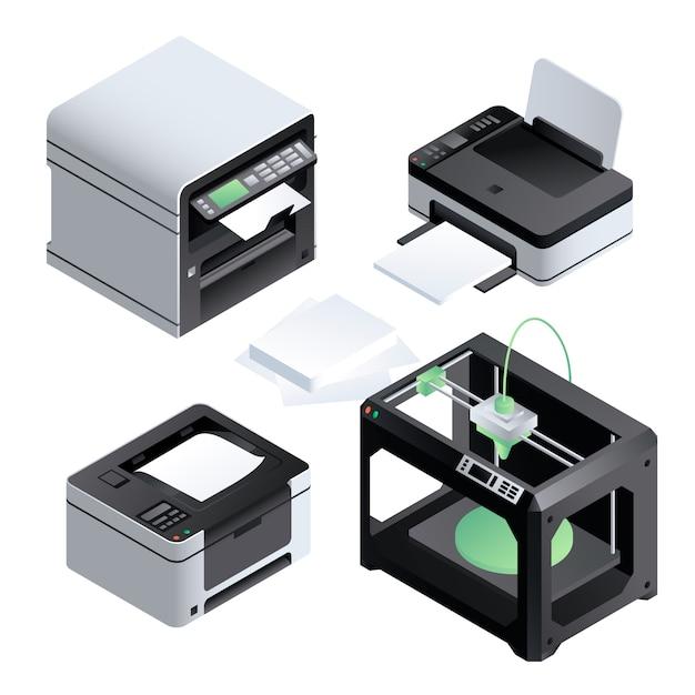 Значок принтера установлен. изометрический набор принтера Premium векторы