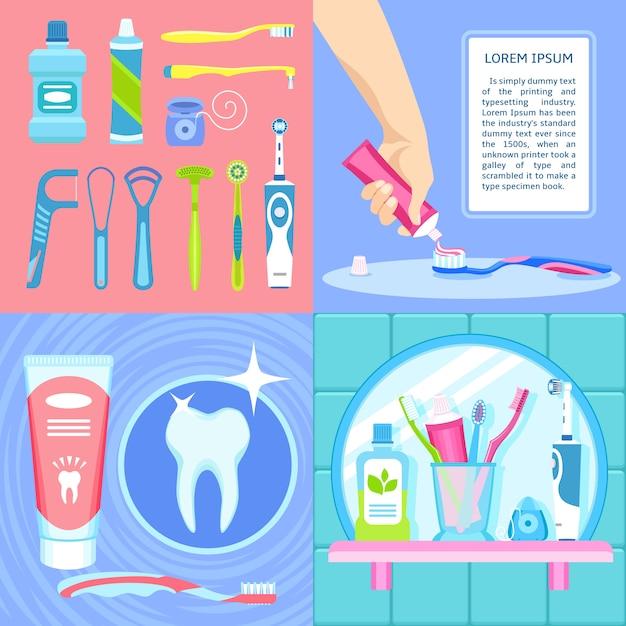 歯ブラシの背景を設定します。 Premiumベクター