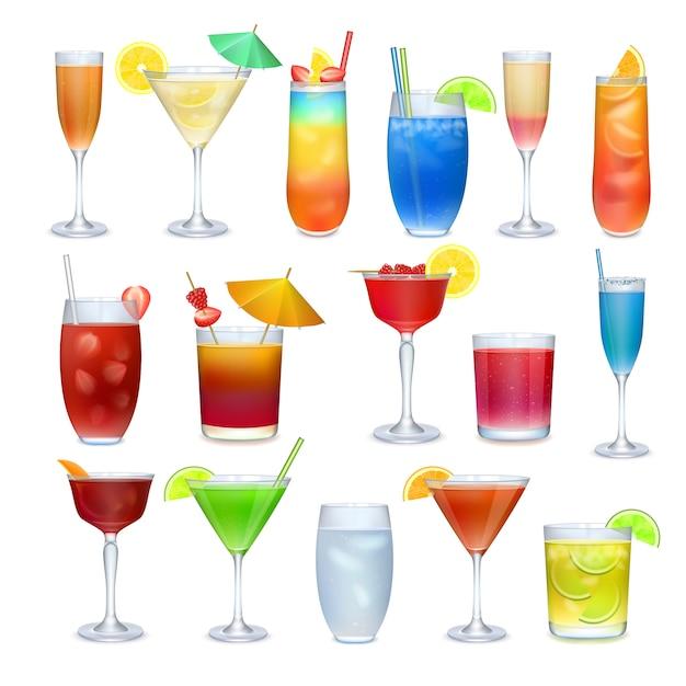 アルコールカクテルやその他のドリンクセット Premiumベクター