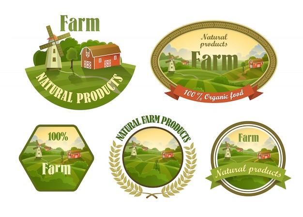 Набор свежих эмблем фермы Premium векторы