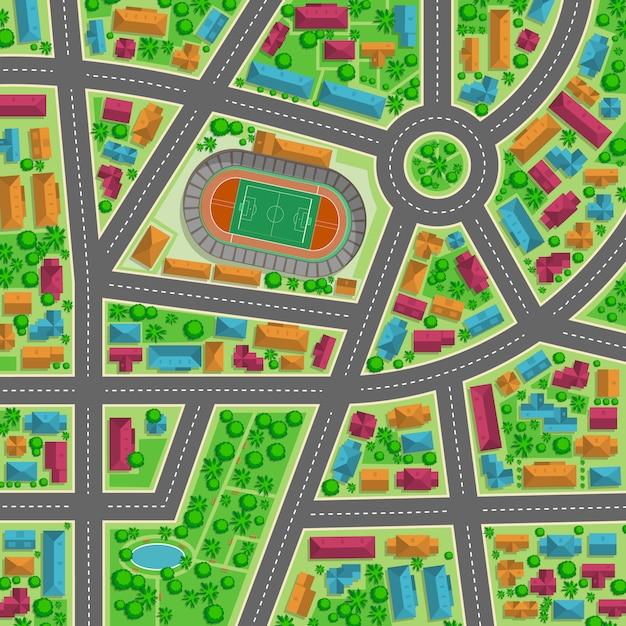 Вид сверху городской плоской иллюстрации для любого дизайна Premium векторы