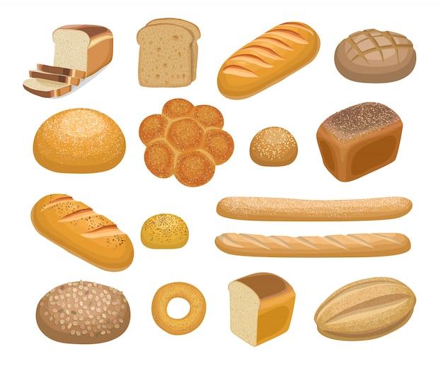 パン、ベーカリー製品 Premiumベクター