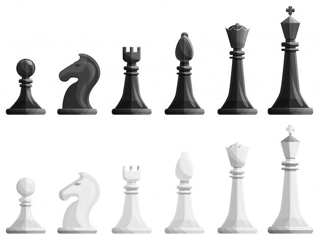チェスのアイコンセット、漫画のスタイル Premiumベクター