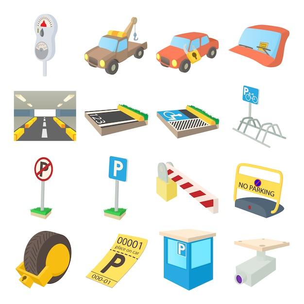 漫画のスタイルの分離ベクトルで駐車場のアイコンを設定します。 Premiumベクター
