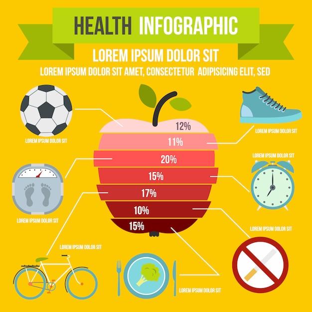 任意のデザインのフラットスタイルの健康インフォグラフィック Premiumベクター