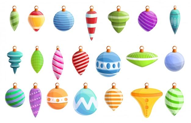 Набор иконок елочные игрушки, мультяшном стиле Premium векторы