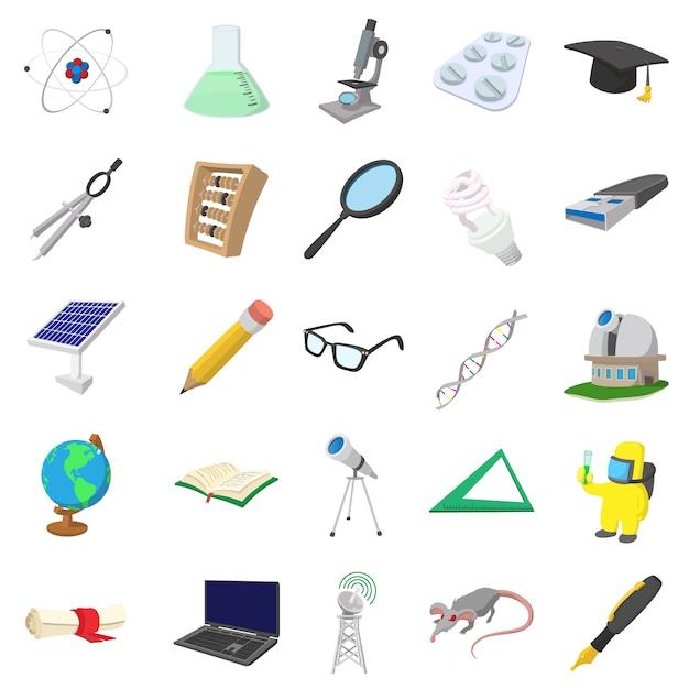 Набор иконок науки в мультяшном стиле, изолированные Premium векторы
